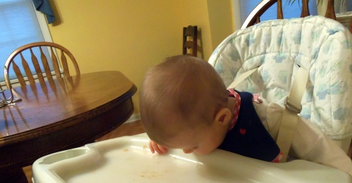 Cleaning her plate